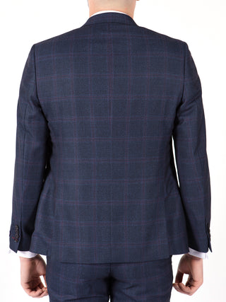 blue red check suit