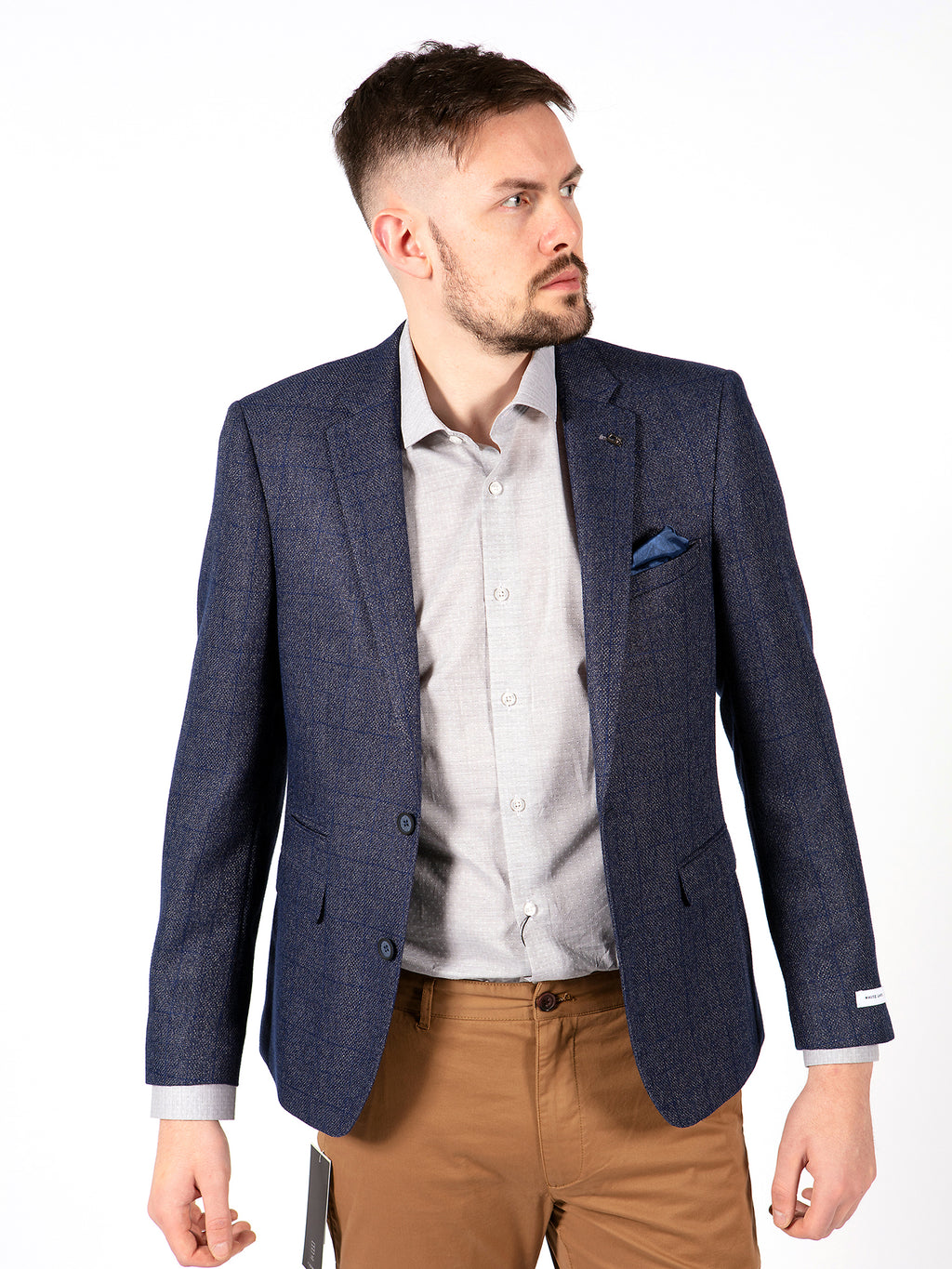 blue check blazer