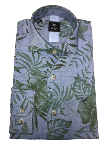 blue leaf shirt