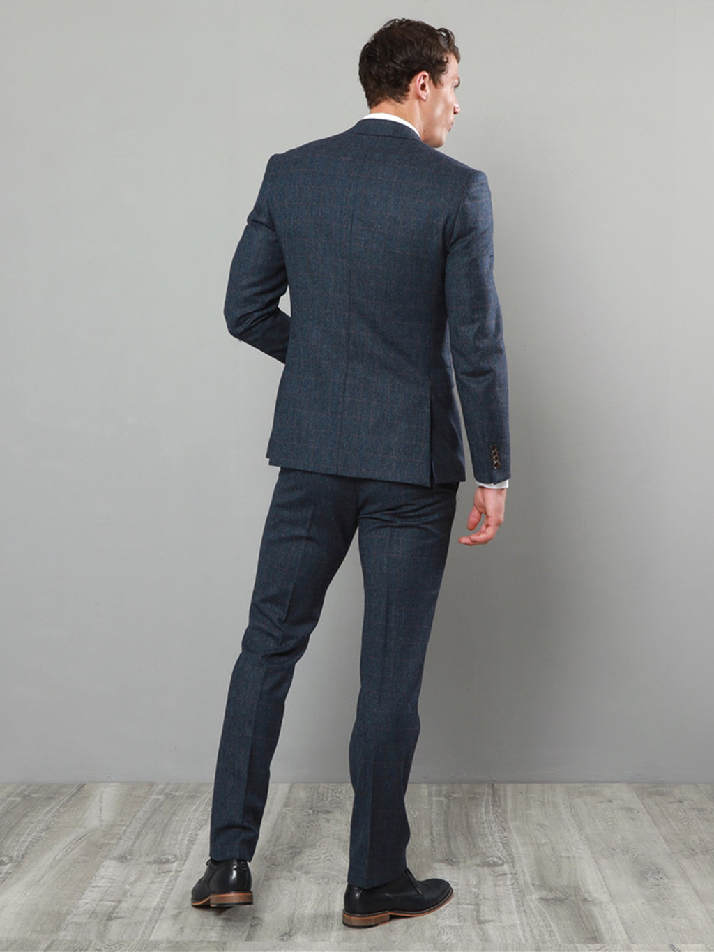5a5a5f117e6a93 Tapered Fit Navy Check Tweed Suit – FOCUS Menswear