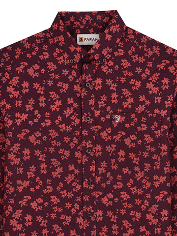 red floral farah shirt