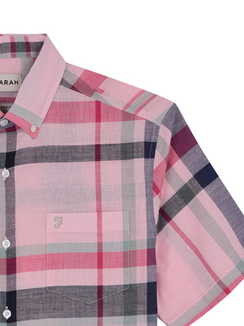 farah shirts short sleeves pink
