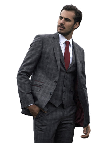 grey burgundy check magee 3 piece suit