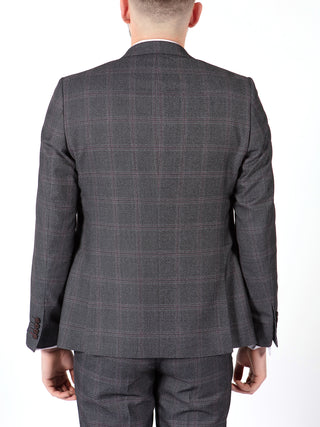 grey red check suit