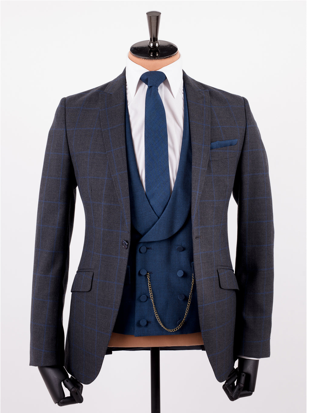 Grey Blue Windsor Check Wedding Suit – FOCUS Suits|Hire|Casual