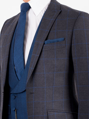 Grey Blue Windsor Check Wedding Suit