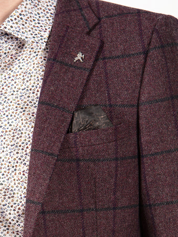 purple tweed blazer