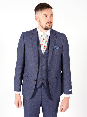 3 piece blue check suit