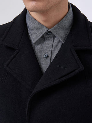 mens overcoat black wool mix