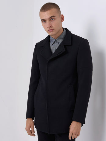 black wool mix overcoat