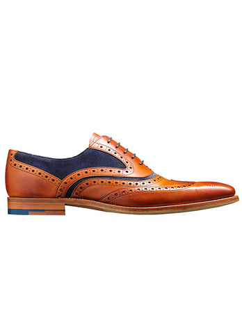 cedar calf & navy suede brogue barker shoe