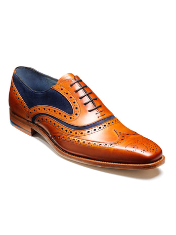 barker shoes mcclean cedar calf & navy suede wingtip brogue