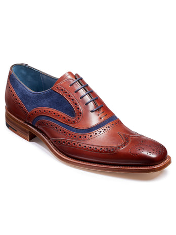 barker shoes rosewood & navy suede wingtip brogue shoe