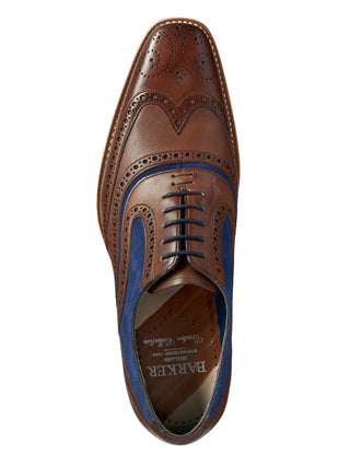 barker shoes hand painted mcclean brown & navy shoe
