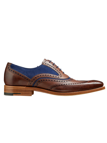 Barker shoes ebony hand painted & navy suede shoe