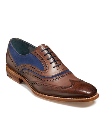mcclean brown hand painted & navy suede wingtip shoe
