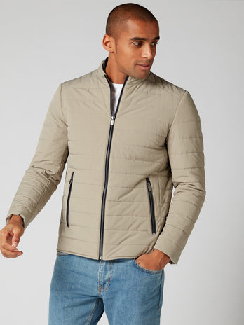 mens casual coat stone