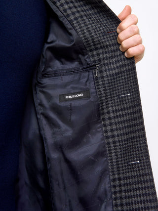 mens overcoat navy check