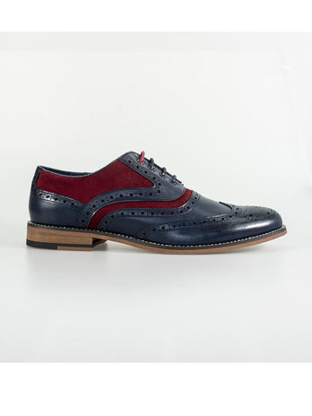 navy red brouge shoes