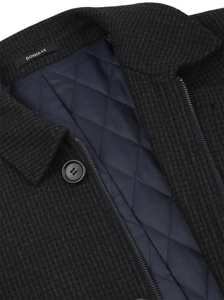 Navy Grey Check Overcoat