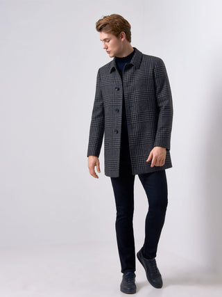 mens navy check overcoat