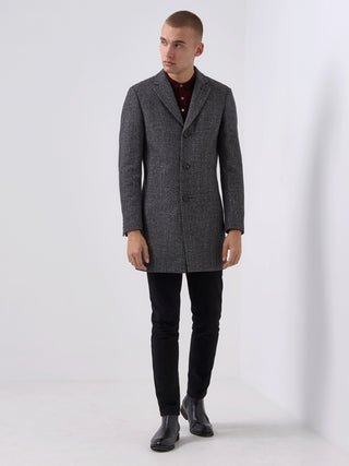 mens overcoat grey black remus uomo