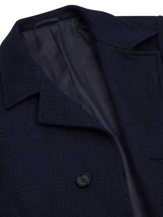 mens navy check ovecoat