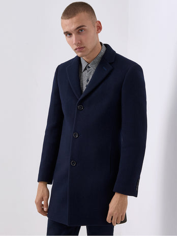 mens overcoat navy wool remus uomo