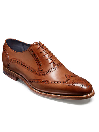 brown hand painted wingtip brogue shoe