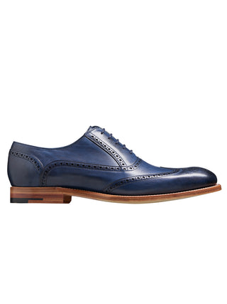 valiant barker shoes navy hand painted wingtip shoe