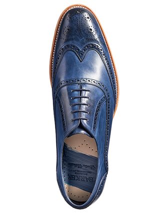 barker shoes navy hand painted valiant wing tip brogue