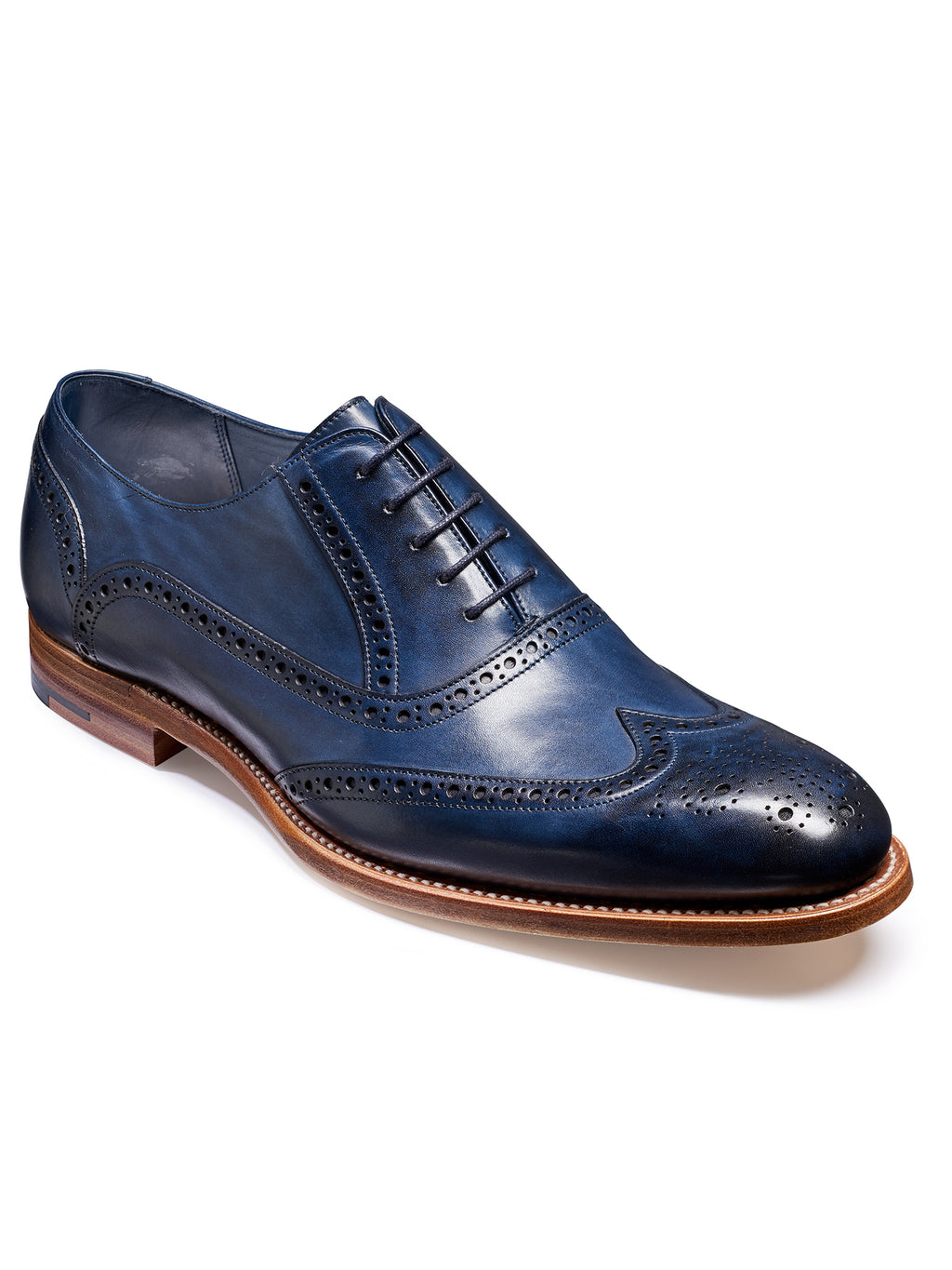 barker shoes navy hand painted valiant brogue shoe