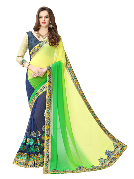 Women's Blue Georgette Embroidered Party Wear Sari (3d)