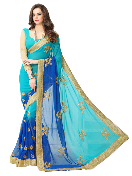 Women's Blue Georgette Embroidered Party Wear Sari (Blue Coding)