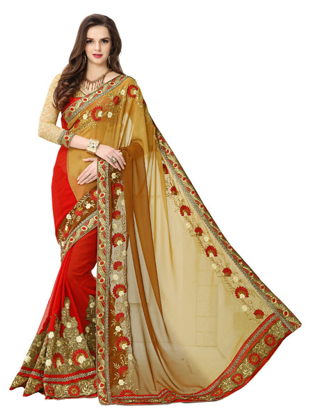 Women's Red And Brown Georgette Embroidered Party Wear Sari (Patli)