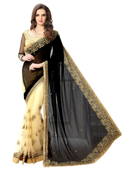 Women's Black Georgette Embroidered Party Wear Sari (NBlack)