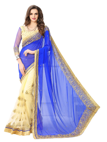 Women's Blue Georgette Embroidered Party Wear Sari (Nblue)