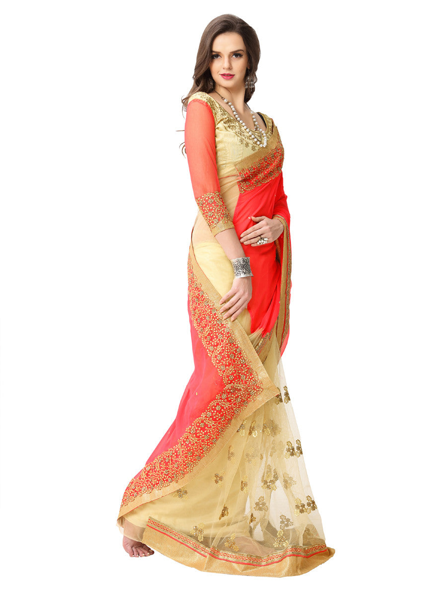 Women's Pink Georgette Embroidered Party Wear Sari (Npeach)