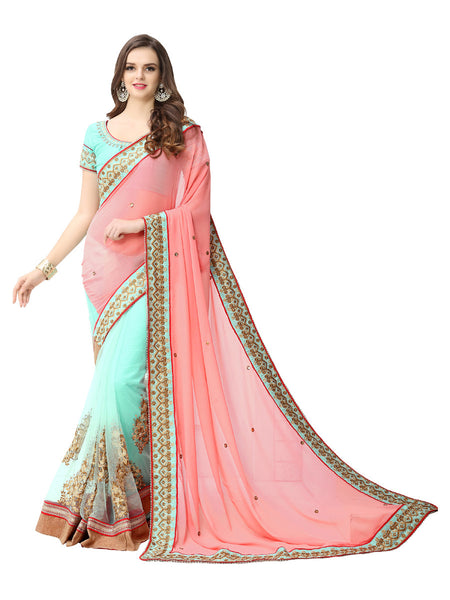 Women's Pink Georgette Embroidered Party Wear Sari (N3)