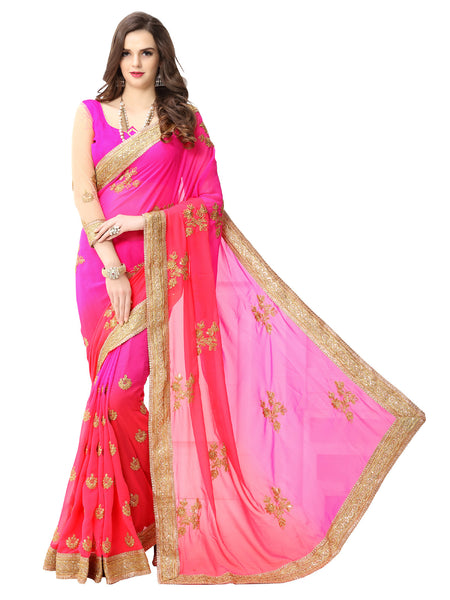 Women's Pink And Peach Georgette Embroidered Party Wear Sari (Pink Coding)
