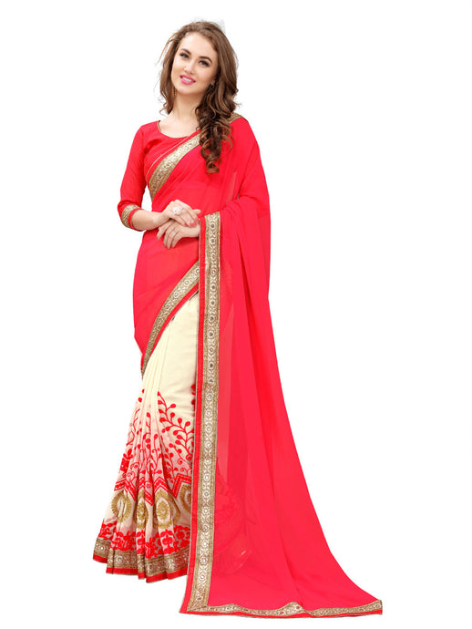 Party Wear Georgette Embroidered Reception Red Saree (lv-red) - Jekkart.com