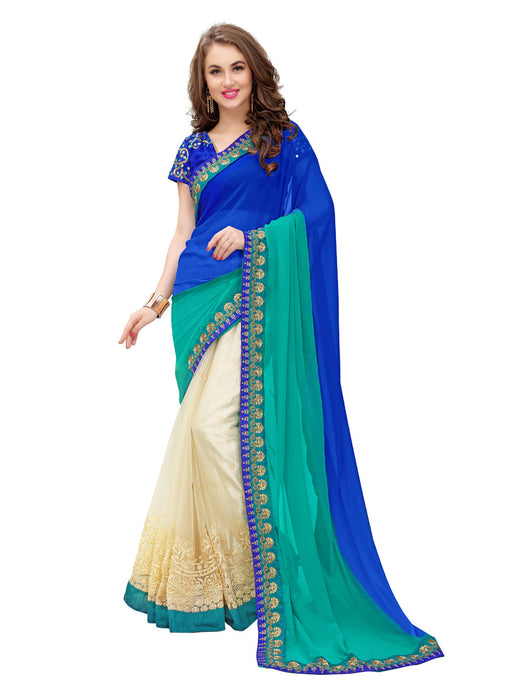 Party Wear Georgette & Net Embroidered Reception Blue Saree (nx-skyblue) - Jekkart.com