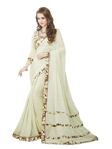 Women's White Georgette Printed Party Wear Sari (RR1025)