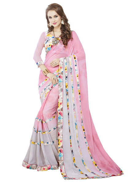 Women's Pink Georgette Printed Party Wear Sari (RR1042)