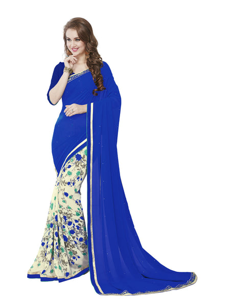 Women's Blue Georgette Printed Party Wear Sari (17530)