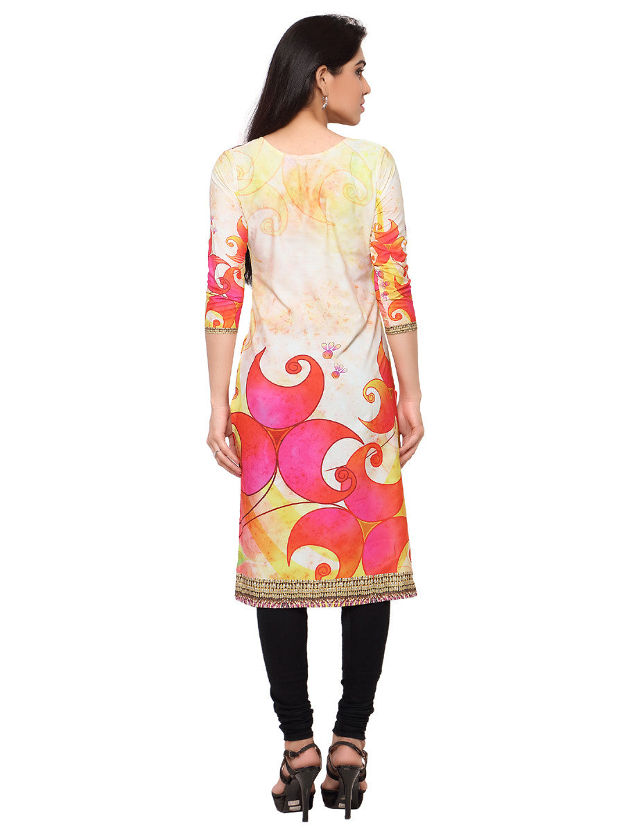 Digital Printed Yellow Kurti-Unstitched (tc-47)