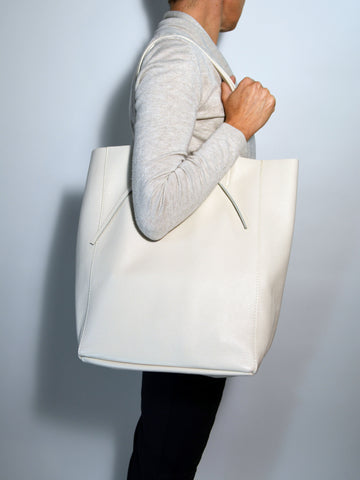 Women Leather Tote Bag Creme-Made in Italy
