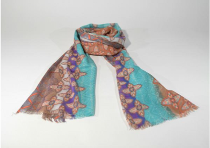 Teal and Light Brown Viscose Scarf Hand Print