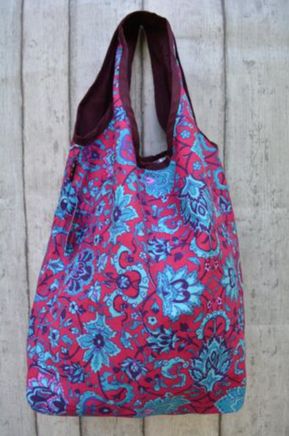 Canvas Shoulder Bag Burgundy and Turquoise Flowers