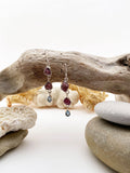 Silver Semi-Precious Rough Ruby Cut Drop Earrings - edocollection
